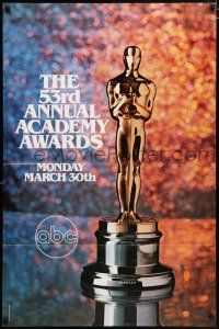 4t014 53RD ANNUAL ACADEMY AWARDS 1sh '81 cool image of Oscar statue and sparkling background!