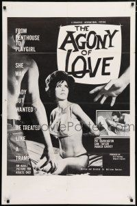 4t019 AGONY OF LOVE 1sh '66 William Rotsler, sexy Pat Barrington, from Penthouse to Playgirl!