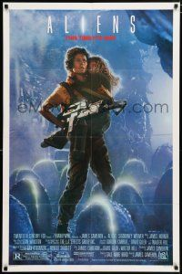 4t024 ALIENS 1sh '86 James Cameron, Sigourney Weaver as Ripley, this time it's war!