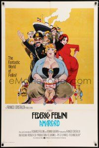 4t028 AMARCORD int'l 1sh '74 Federico Fellini classic comedy, art by Giuliano Geleng!