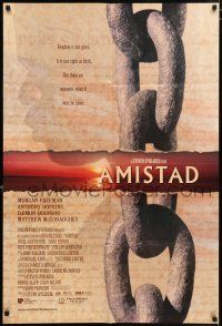 4t031 AMISTAD int'l DS 1sh '97 Morgan Freeman, Steven Spielberg, cool silhouette & chains design!
