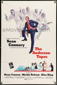4t032 ANDERSON TAPES 1sh '71 art of Sean Connery & gang of masked robbers, Sidney Lumet