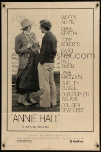 4t037 ANNIE HALL 1sh '77 full-length Woody Allen & Diane Keaton in a nervous romance!
