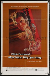 4t039 ANY WHICH WAY YOU CAN 1sh '80 cool artwork of Clint Eastwood by Bob Peak!