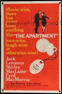 4t040 APARTMENT 1sh '60 Billy Wilder, Jack Lemmon, Shirley MacLaine, cool key-in-lock art!