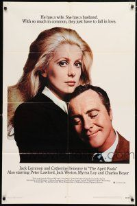 4t042 APRIL FOOLS 1sh '69 Jack Lemmon & Catherine Deneuve are married but not to each other!
