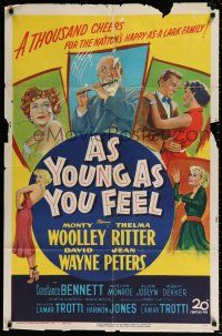4t046 AS YOUNG AS YOU FEEL 1sh '51 great art including young sexy Marilyn Monroe!