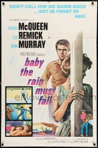 4t053 BABY THE RAIN MUST FALL 1sh '65 Steve McQueen gets in trouble & gets under Lee Remick's skin!