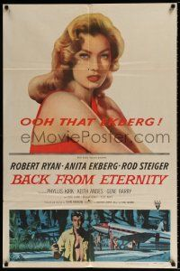 4t054 BACK FROM ETERNITY 1sh '56 super close up of that sexy Anita Ekberg, Robert Ryan!