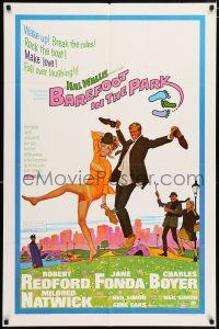 4t058 BAREFOOT IN THE PARK 1sh '67 artwork of frollicking Robert Redford & sexy Jane Fonda!