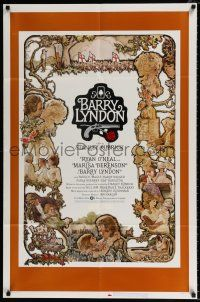 4t059 BARRY LYNDON 1sh '75 Stanley Kubrick, Ryan O'Neal, great colorful art of cast by Gehm!