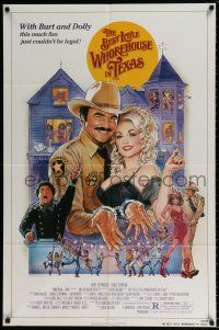 4t066 BEST LITTLE WHOREHOUSE IN TEXAS 1sh '82 close-up of Burt Reynolds & Dolly Parton!