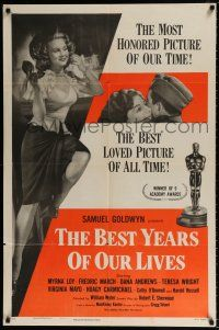 4t067 BEST YEARS OF OUR LIVES style A 1sh R54 close up of Teresa Wright & Dana Andrews in car!