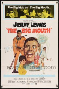 4t073 BIG MOUTH 1sh '67 Jerry Lewis is the Chicken of the Sea, hilarious D.K. spy spoof artwork!
