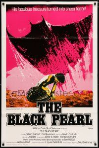 4t081 BLACK PEARL 1sh '77 Gilbert Roland, Carl Anderson, art of huge ray & diver!