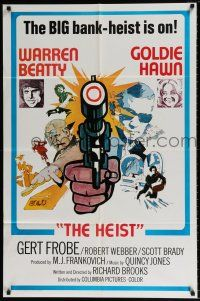 4t005 $ style D int'l 1sh '71 bank robbers Warren Beatty & Goldie Hawn, bank heist is on!