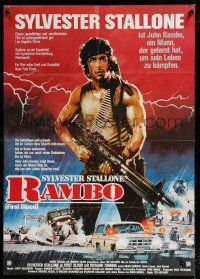 4y014 FIRST BLOOD German 33x47 '82 full-length artwork of Sylvester Stallone as John Rambo!