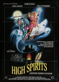 4y016 HIGH SPIRITS German 33x47 '88 Casaro art of sexy ghost Daryl Hannah, O'Toole & Guttenberg!