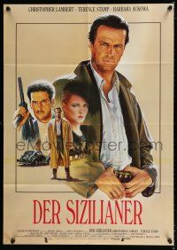 4y021 SICILIAN German 33x47 '88 Casaro art of Christopher Lambert & Terence Stamp, Michael Cimino!