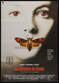4y022 SILENCE OF THE LAMBS German 33x47 '90 great image of Jodie Foster with moth over mouth!