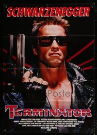 4y023 TERMINATOR German 33x47 '85 close up of classic cyborg Arnold Schwarzenegger with gun!