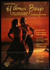 4y017 LOVE THE MAGICIAN German 36x51 '86 Carlos Saura's El elamor brujo, great dancing image!