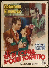 4y063 ABOVE SUSPICION Italian 1p '49 Joan Crawford, Fred MacMurray, Basil Rathbone, different art!