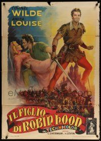 4y068 BANDIT OF SHERWOOD FOREST Italian 1p '49 great Ballester art of Cornel Wilde & Anita Louise!