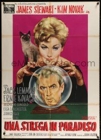 4y070 BELL, BOOK & CANDLE Italian 1p '59 great art of witch Novak & cat w/Stewart in crystal ball!