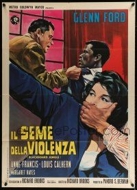 4y072 BLACKBOARD JUNGLE Italian 1p R60s different art of Glenn Ford & Sidney Poitier by Brini!