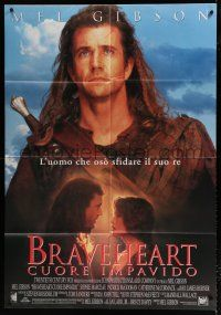 4y074 BRAVEHEART Italian 1p '95 great close up of Mel Gibson & with Sophie Marceau!