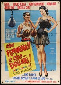 4y078 CHE FEMMINA... E CHE DOLLARI Italian 1p '61 DeAmicis art of boxer & super sexy girl!