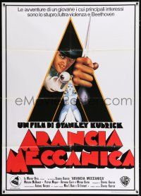 4y080 CLOCKWORK ORANGE Italian 1p R90s Stanley Kubrick classic, Castle art of Malcolm McDowell!