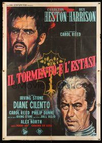 4y029 AGONY & THE ECSTASY Italian 2p '65 art of Charlton Heston, Rex Harrison & Cilento by Nistri!