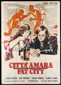 4y037 FAT CITY Italian 2p '73 different Symeoni art of Stacy Keach, Susan Tyrrell & boxing match!