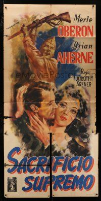 4y027 FIRST COMES COURAGE Italian 3sh '47 Merle Oberon, Brian Aherne, different Tarquini art!