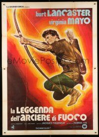 4y039 FLAME & THE ARROW Italian 2p R70s cool different art of Burt Lancaster aiming bow & arrow!