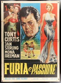 4y040 FLESH & FURY Italian 2p '52 different art of Tony Curtis romancing & boxing in the ring!
