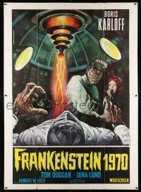 4y041 FRANKENSTEIN 1970 Italian 2p R70 different Piovano art of Boris Karloff & bandaged monster!