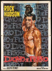 4y044 IRON MAN Italian 2p R66 best completely different art of boxer Rock Hudson top-billed!