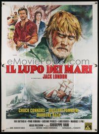 4y046 LEGEND OF SEA WOLF Italian 2p '77 Casaro art of Chuck Connors as Jack London's Wolf Larsen