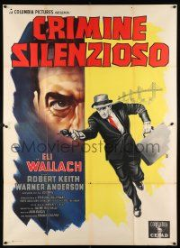 4y047 LINEUP Italian 2p '58 Don Siegel classic film noir, cool art of Eli Wallach running w/ gun!
