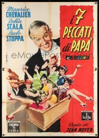4y049 MY SEVEN LITTLE SINS Italian 2p '54 great art of Maurice Chevalier & sexy girls by Deseta!