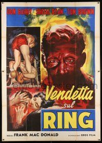 4y052 RINGSIDE Italian 2p R60 cool different intense boxing art of Don Red Barry & Sheila Ryan!