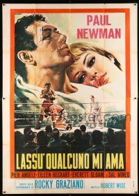 4y054 SOMEBODY UP THERE LIKES ME Italian 2p R60s great different Casaro boxing art of Paul Newman!
