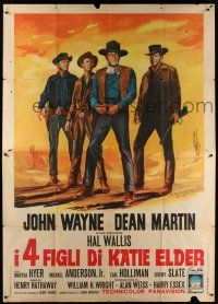 4y055 SONS OF KATIE ELDER Italian 2p '65 different art of John Wayne, Dean Martin & co-stars!
