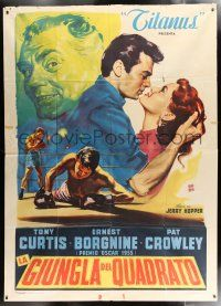 4y056 SQUARE JUNGLE Italian 2p '56 Tony Curtis, Crowley, Ernest Borgnine, different boxing art!