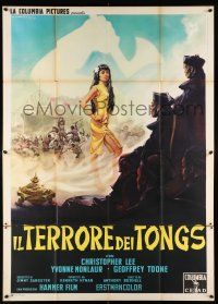 4y057 TERROR OF THE TONGS Italian 2p '61 Capitani art of Asian Christopher Lee & sexy Monlaur!