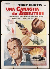 4y058 TITLE SHOT Italian 2p '79 art of Tony Curtis + hand holding gun by boxing glove!