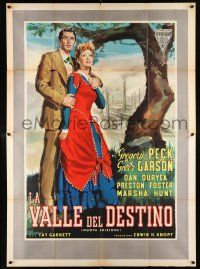 4y061 VALLEY OF DECISION Italian 2p R57 different Cesselon art of Greer Garson & Gregory Peck!